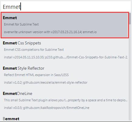 sublime插件:Emmet安装