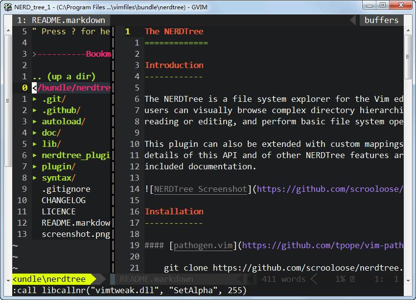 vim目录树资源管理器nerdtree安装配置